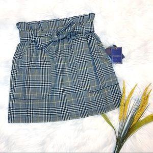 Forever 21 High Waist Paper Bag Plaid Skirt w/ Bow